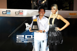 Rio Haryanto, collects his trophy for best race win