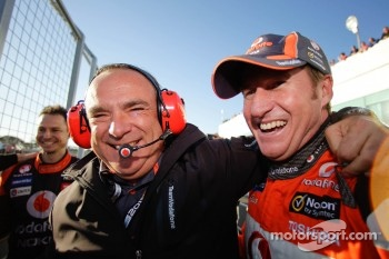 Race winner Mark Skaife celebrates