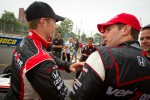 Pole winner Will Power, Team Penske congratulated by Ryan Briscoe, Team Penske