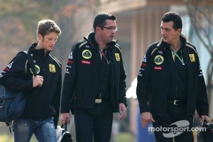 Romain Grosjean and Team Principal Eric Boullier