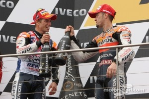 Podium: race winner Casey Stoner, third place Andrea Dovizioso