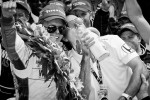2011 Indy 500 race winner Dan Wheldon, Bryan Herta Autosport with Curb / Agajanian celebrates with Bryan Herta
