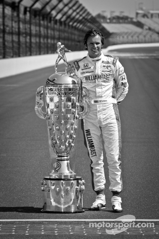 2011 Indy 500 race winner Dan Wheldon, Bryan Herta Autosport with Curb / Agajanian with the Borg-Warner Trophy