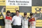 2nd Martin Tomczyk, Audi Sport Team Phoenix, Audi A4 DTM, 1st Jamie Green, Team HWA, AMG Mercedes C-Klasse, 3rd Miguel Molina, Audi Sport Team Abt Junior, Audi A4 DTM