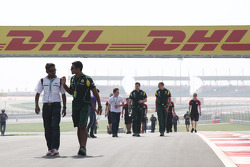 Christian Klien, test driver, HRT Formula One Team walks the track
