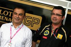 Carlos Ghosn, CEO Renault-Nissan and Eric Boullier, Team Principal, Lotus Renault GP