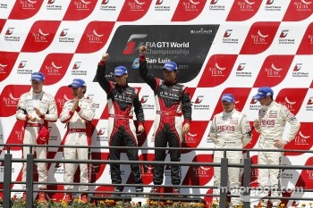 Podium: drivers champions Michael Krumm, Lucas Luhr, second place Darren Turner, Stefan Mcke, third place Andrea Piccini, Christian Hohenadel