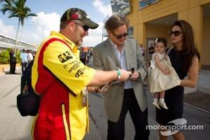 Brian France with a NASCAR loyal fan