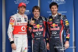 Sebastian Vettel, Red Bull Racing gets pole position and with Jenson Button, McLaren Mercedes and Mark Webber, Red Bull Racing