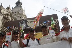 Podium: Team Hino celebrates