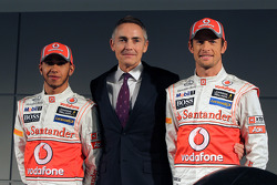 Lewis Hamilton, McLaren Mercedes, with Martin Whitmarsh and Jenson Button, McLaren Mercedes