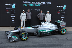 Nico Rosberg, Mercedes GP with Ross Brawn, Mercedes GP Team Principal, Norbert Haug, Mercedes Sporting Director and Michael Schumacher, Mercedes GP