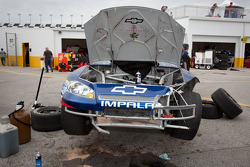 Damaged car of Kasey Kahne, Hendrick Motorsports Chevrolet