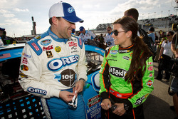 Pole winner Danica Patrick, JR Motorsports Chevrolet celebrates with Tony Stewart, Richard Childress Racing Chevrolet