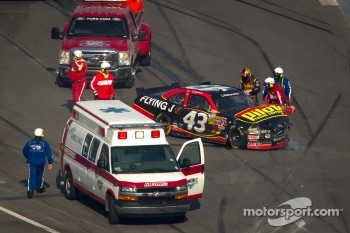 Michael Annett, Richard Petty Motorsports Ford after a crash