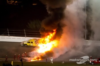 A jet dryer truck is on fire after a crash with Juan Pablo Montoya, Earnhardt Ganassi Racing Chevrolet on lap 160