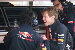Sebastian Vettel, Red Bull Racing with his old racing engineer  Laurent Mekies, Chief Engineer, Scuderia Toro Rosso