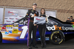 Pole winner Denny Hamlin, Joe Gibbs Racing Toyota