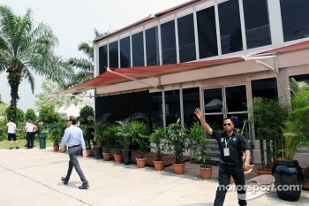 The hospitality unit occupied by the Lotus F1 Team which was damaged by a fire