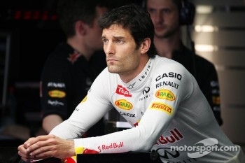 Mark Webber, Red Bull Racing in the pit garage