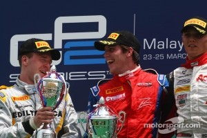 Winner Luiz Razia, second place Davide Valsecchi and third place Max Chilton celebrate.