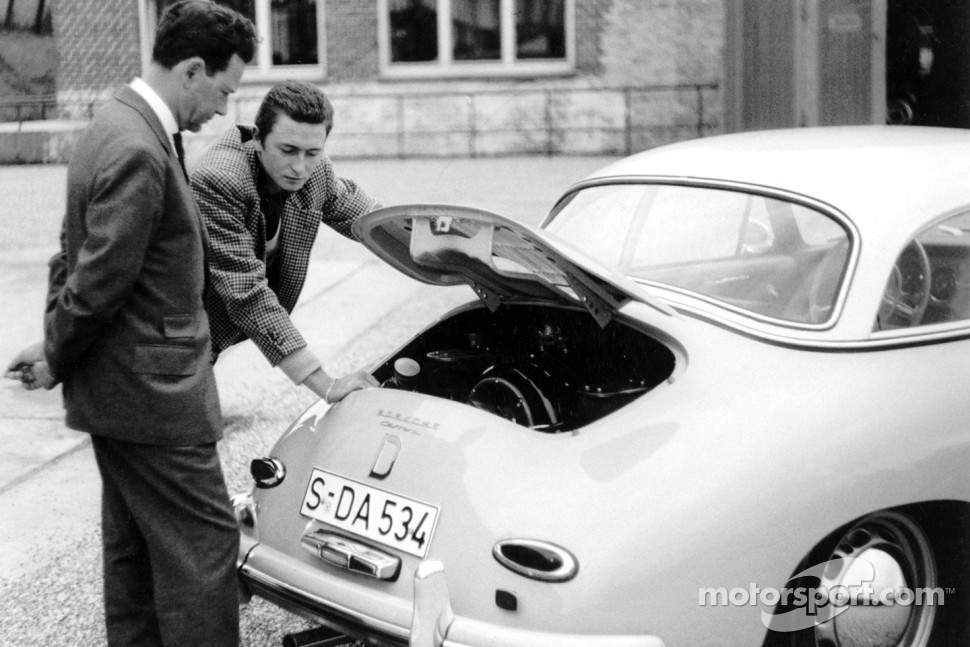 Ferry Porsche (left) with his eldest son Ferdinand Alexander in the rear of the Porsche Typ 356 A Carrera Hardtop (1958)