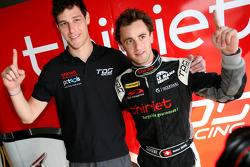 Pole winner Mathias Beche celebrates with Pierre Thiriet