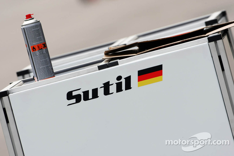 Sahara Force India F1 Team pit equipment carrying the name of former driver Adrian Sutil