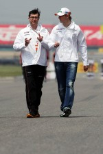 Nico Hulkenberg, Sahara Force India F1 walks the circuit with Bradley Joyce, Sahara Force India F1 Race Engineer