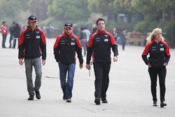 Charles Pic, Marussia F1 Team with team mate Timo Glock, Marussia F1 Team and Maria De Villota, Marussia F1 Team Test Driver