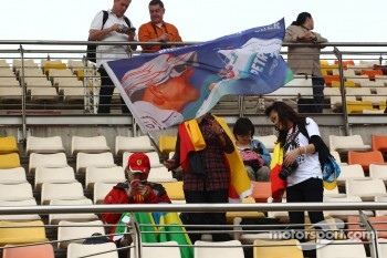 Michael Schumacher, Mercedes AMG F1 banner and fans
