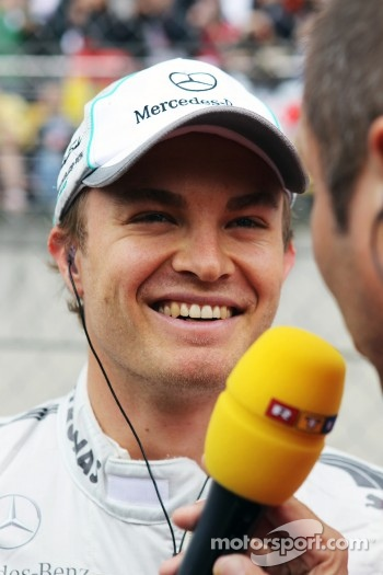 Nico Rosberg, Mercedes AMG F1 with Kai Ebel, RTL TV Presenter