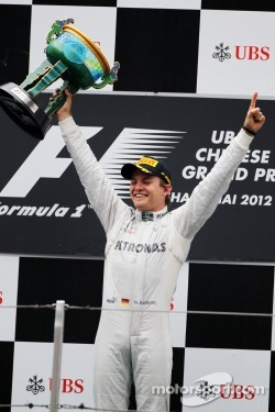 Nico Rosberg at his podium in Shanghai.