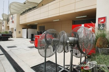 Fans ready for use by the Ferrari team