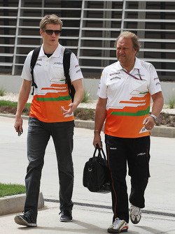Nico Hulkenberg, Sahara Force India F1 with Robert Fearnley, Sahara Force India F1 Team Deputy Team Principal