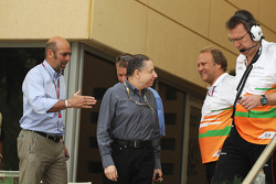 Norman Howell, FIA Director of Communications with Jean Todt, FIA President and Robert Fearnley, Sahara Force India F1 Team Deputy Team Principal