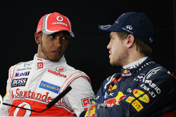 Lewis Hamilton, McLaren Mercedes with Sebastian Vettel, Red Bull Racing in the FIA Press Conference