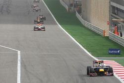Sebastian Vettel, Red Bull Racing leads the race