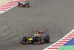 Sebastian Vettel, Red Bull Racing leads Lewis Hamilton, McLaren