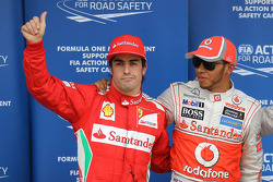 Qualifying results, 1st Lewis Hamilton, McLaren Mercedes with 2nd place Pastor Maldonado, Williams F1 Team and 3rd place Fernando Alonso, Scuderia Ferrari