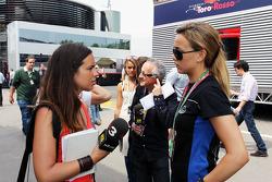 Laia Ferrer, TV3 with GP3 driver Carmen Jorda, Ocean Racing Technology