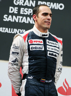 Race winner Pastor Maldonado, Williams F1 Team on the podium