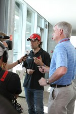 Dario Franchitti gives media interviews