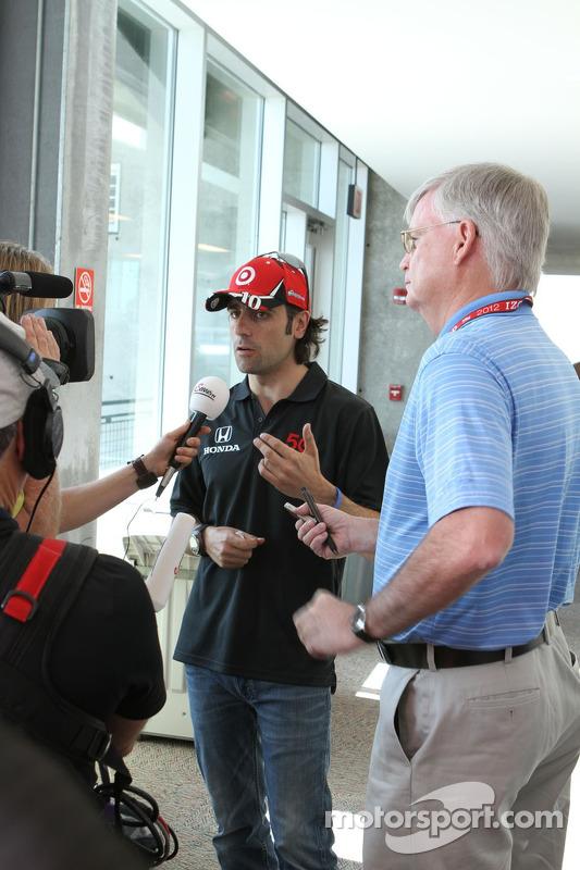 Dario Franchitti gives media interviews