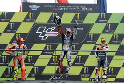 Podium: race winner Jorge Lorenzo, Yamaha Factory Racing, second place Valentino Rossi, Ducati Marlboro Team, third place Casey Stoner, Repsol Honda Team