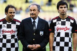 Felipe Massa, Ferrari with Sergio Perez, Sauber at the charity football match