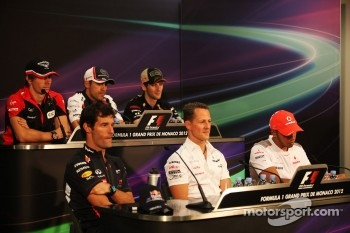 The FIA Press Conference,Charles Pic, Marussia F1 Team, Pastor Maldonado, Williams, Romain Grosjean, Lotus F1 Team, Mark Webber, Red Bull Racing, Michael Schumacher, Mercedes AMG F1, Lewis Hamilton, McLaren Mercedes