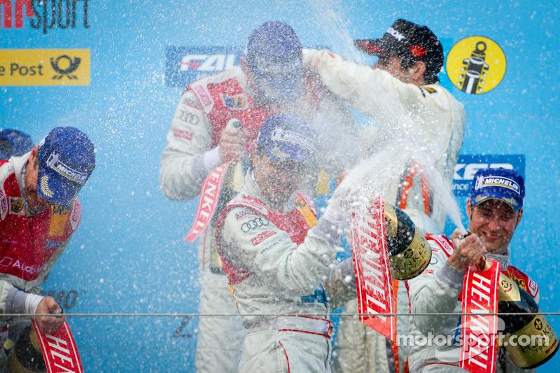 Podium: champagne celebration