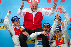 Podium: race winners Marc Basseng, Christopher Haase, Frank Stippler and Markus Winkelhock celebrate with Quattro GmbH managing director Werner Frowein