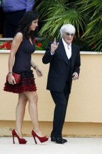 Bernie Ecclestone, CEO Formula One Group, with fiance Fabiana Flosi, at the Amber Lounge Fashion Show
